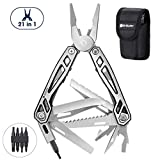 Multitool Pliers, 21-in-1 Multi-Purpose Pocket Knife Pliers Kit, 420 Durable Stainless Steel Multi-Plier Multi-tool for Survival, Camping, Hunting, Fishing and Hiking (Blackside)