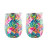DOKIO 12 oz Flamingo Mug Sippy Cup For Adults Insulated Wine Glass Cup Tumbler Mug Stemless Stainless Steel Double Wall Vacuum With Waterproof Crystal Clear Lid For Hot Drink Coffee Outdoor Camping