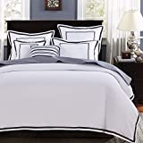Mellanni Duvet Cover Set Hotel Collection - Double Brushed Microfiber 1800 Bedding - Wrinkle, Fade, Stain Resistant - 3 Piece (King/Cal King, Hotel White with Gray Embroidery)