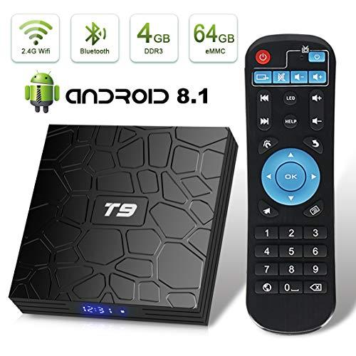 Android TV Box, HAOSIHD T9 Android 8.1 TV Box,4GB RAM 64GB ROM RK3328 Quad-core, Support 4K Full HD 2.4Ghz WiFi BT 4.1 Smart TV Box (Black)