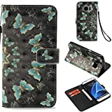 Firefish Galaxy S7 Edge Case,Durable Shock Absorbent Pu Leather Wallet Case Cover Dust Proof Credit Card Holder Magnetic Closure Wrist Strap Samsung Galaxy S7 Edge -Mint Green Butterfly