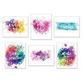 Inspirational Wall Art-Inkblot: Set of 6-Phrases of Wisdom Unframed Poster Art (8'x10')