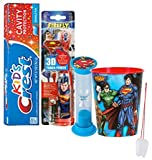 "Super Hero Inspired 5pc Bright Smile Oral Hygiene Set! Superman Spin Toothbrush, 3D Brush Cap, Brushing Timer, Toothpaste & Mouthwash Rinse Cup! Plus Bonus ""Remember to Brush"" Visual Aid!"