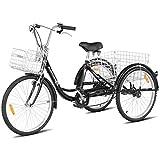 Goplus Adult Tricycle Trike Cruise Bike Three-Wheeled Bicycle w/Large Size Basket for Recreation, Shopping, Exercise Men's Women's Bike (Black, 24' Wheel)