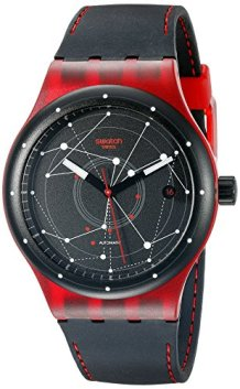 Swatch Unisex SUTR400 Sistem Red Analog Display Automatic Self Wind Black Watch