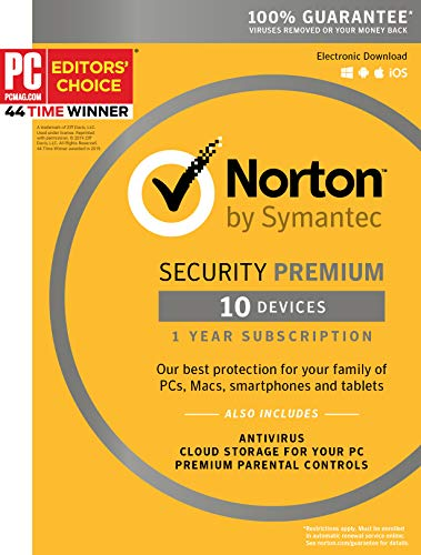 Symantec Norton Security Premium – 10 Devices – 1 Year Subscription [PC/Mac/Mobile Key Card] 1