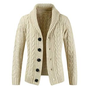 Fashion G-Real Mens Casual Slim Fit Cardigan Sweater Cable Knitted Button Down Stand Collar