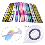 UR SUGAR 24 Rolls Candy Holographic Laser Color Mixed Size Nail Striping Tape Nail Art Line Decal Sets With 3 Line Case Tools