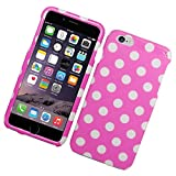 iPhone 6 Plus/6s Plus Case, Insten Polka Dots Rubberized Hard Snap-in Case Cover for Apple iPhone 6 Plus/6s Plus, Pink/White