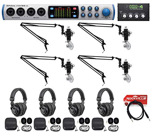 Presonus-4-Person-Podcast-Podcasting-Recording-Bundle-wSTUDIO-1810-Interface