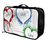 Travel Bags The Love Life Portable Foldable Trolley Handle Luggage Bag