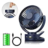 efluky 4 Speeds Desk Clip Fan with Two Adjustable Lights and 3600mAh Rechargeable Battery Operated Fan, Portable USB Fan for Baby Stroller Crib,Camping, BBQ Outdoor Indoor Activity, Blue