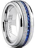 Men's Titanium Wedding Band Engagement Ring W/ Blue Simulated Sapphire Cubic Zirconia Princess CZ 13
