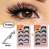 MAGEFY 10 Pairs Fake Eyelashes Reusable 3D Handmade False Eyelashes Set for Natural Look with False Lashes Applicator-10 Styles