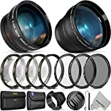 55MM Vivitar Essential Lens & Filter Accessory Kit for Nikon AF-P DX 18-55mm and Select Sony Lenses - Bundle with Wide Angle & Telephoto Lenses, Filters Kit & Macro Set, Lens Hood, Cap