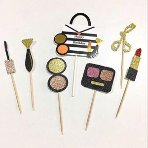Supreach Glamorous Make up Cosmetics Theme Party Cake Decorations Cupcake Picks, Gold Glitter Crown Cake Toppers, Birthday Cake Toppers, Hen Party, Girl Party, Pack of 13 Pcs 51 2BOcE4DhdL