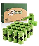 Poop Bags, Environment Friendly Pets N Bags Dog Waste Bags, Biodegradable, Refill Rolls, Includes Dispenser (16 Rolls / 240 Count)