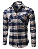 Scotch Plaid Flannel Long Sleeve Button Down Shirt Navy Size S