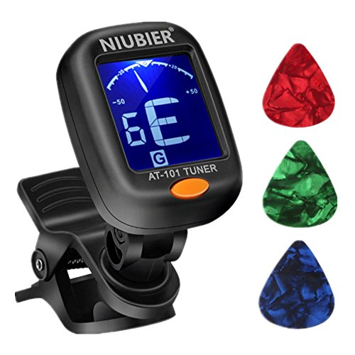NIUBIER Guitar Tuner Digital Clip-on Tuner for Acoustic Electric Classical Guitars,Ukulele,Bass,Violin,Mandolin,Banjo,Large Clear LCD Display for Guitar Tuners,Cello Tuner with Guitar Picks