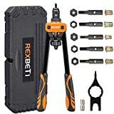 REXBETI 14' Rivet Nut Tool, Professional Rivet Setter Kit with 6 Metric & SAE Mandrels and 60pcs Rivnuts, Labor-Saving Design, Rugged Carrying Case