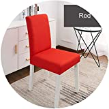 Pink-star Solid Color Chair Cover Spandex Stretch Elastic Slipcovers Chair Covers White for Dining Room Kitchen Wedding Banquet Hotel,2-Red,Universal