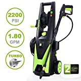 PowRyte Elite 2200 PSI 1.8 GPM Electric Pressure Washer, Power Washer with Hose Reel, Extra Turbo Nozzle, 3 Quick-Connect Spray Tips and Tall Handle