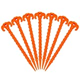 Hikemax Spiral Plastic Tent Stakes 15 Pack - 10 Inch Heavy Duty Beach Tent Pegs Canopy Stakes - Essential Gear for Camping, Backpacking, Gardening and More