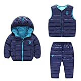 Baby Boy Girl Winter Puffer Snowsuit Down Hooded Jacket+Vest+Ski Pants Set Dark Blue 130