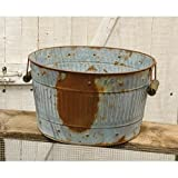 Rusty Galvanized Metal Wash Tub - Primitive Country Rustic Decorative Home Accent
