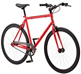 Schwinn Kedzie Single-Speed Fixie Bike, Featuring 58cm/Large Steel Stand-Over Frame with 700c Wheels and Flip-Flop Hub, Perfect for Urban Commuting and City Riding, Matte Red