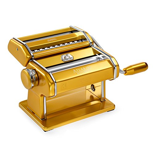 Marcato Atlas Made in Italy Pasta Machine, Made in Italy, Gold, Includes Pasta Cutter, Hand Crank, and Instructions