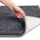 VDOMUS Soft Microfiber Shag Bath Rug, Extra Absorbent and Comfortable, Anti-slip,Machine-Washable Large Bathroom Mat, 32' x 20', Grey