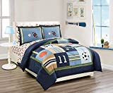 Elegant Home Multicolor Sports Basketball Baseball Soccer Football Design 5 Piece Twin Size Comforter Bedding Set for Boys/Kids Bed in a Bag with Sheet Set # Sports Navy (Twin Size)
