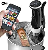 Gourmia GSV150 WiFi Sous Vide Cooker Immersion Pod - 3rd Generation - Powerful & Accurate - App Controlled -1200W - Black - ETL Listed - Free Recipe Book