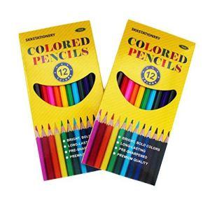 SKKSTATIONERY 144Pcs Colored Pencils, Pre-sharpened, 12 Colors, 12pcs/box, Total: 144Pcs.
