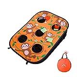 Himal Collapsible Portable 5 Holes Cornhole Game Cornhole Set Bounce Bean Bag Toss Game 10 Bean Bags,Tic Tac Toe Game Double Games (3 x 2-Feet, Single Board) (Orange)