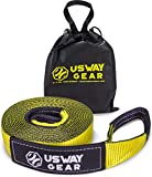 """USWAY GEAR 3"""" x 20' Recovery Tow Strap - 30.000 LBS (15 US TON) Rated Capacity Heavy Duty Vehicle Tow Strap with Triple Reinforced Loops + Protective Sleeves + Free Storage Bag 