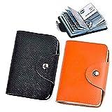 K Y KANGYUN Credit Card Holder Protector Bag for Women Men (Black&Orange)