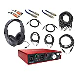 Focusrite Scarlett 6i6 USB Audio Recording Interface with Cables and Headphones Bundle