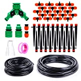 Ohuhu 66 FT DIY Drip Irrigation Kit Plant Watering System, 2/5' & 1/4' Heavy Duty Tube 33 FT Each, 2 Different Emitters Drippers, Water-Saving System for Garden, Pot Plants, Flower Beds