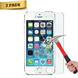 iPhone 5/5S/5C/SE Screen Protector,Haibao 2.5D Round Edge 9H Tempered Glass Anti-Scratch Screen Protector for iPhone 5/5S/5C/SE - Clear (2 Pack)