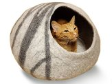 MEOWFIA-Premium-Felt-Cat-Cave-Bed-Large-Eco-Friendly-100-Merino-Wool-Bed-for-Large-Cats-and-KittensLight-Grey