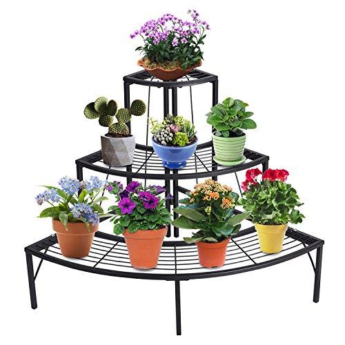 DOEWORKS 3 Tier Plant Stand Flower Pot Rack, Quarter Round Plant Corner Shelf Planters Display Holder Orchid Shelves for Indoor Outdoor Use, Black
