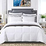 Ubauba All-Season Down Comforter 100% Combed Cotton Hypoallergenic Quilted Feather Comforter with Corner Tabs. Lightweight Goose Down Duvet Insert or Stand-Alone Comforter - Queen/Full 90x90