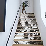 AMAZING WALL 18x100CM/7.1x39.4 13PCS/Set Waterfall Stone Stair Sticker 3D Printing Removeable Waterproof Wallpaper Decor Home Decorations