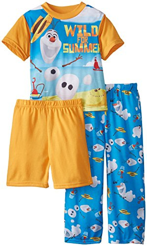 Disney Boys' Frozen Olaf Wild for Summer 3 Piece Pajama Set