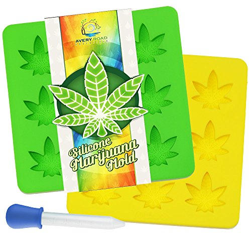 Marijuana Mold Silicone 2 PACK with BONUS DROPPER ~ Non-BPA LFGB & FDA Pot Leaf Gummy & Candy Molds -...
