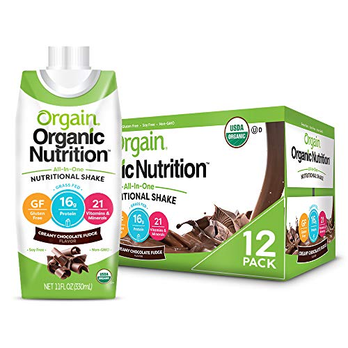 Orgain Organic Nutritional Shake, Creamy Chocolate Fudge - Meal Replacement, 16g Protein, 21 Vitamins & Minerals, Gluten Free, Soy Free, Kosher, Non-GMO, 11 Ounce, 12 Count (Packaging May Vary) 1