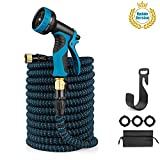 LANIAKEA 75ft Garden Hose Expandable Water Hose with Double Latex Core, Solid Brass Fittings, Extra Strength Fabric, Flexible Expanding Hose with 8 Function Spray Nozzle,Blue & Black