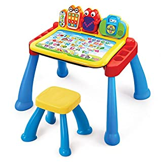 The Touch and Learn Activity Desk Deluxe by VTech is a three-in-one desk with interactive activity cards that's expandable for more fun and discovery! The desk features an interactive desktop and five pages to explore that are filled with engaging co...